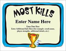 most kills award template