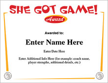 She Got Game Volleyball Award