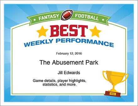 Best Weekly Performance Award