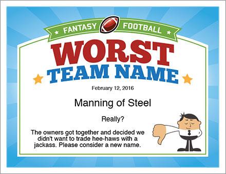 Worst team name fantasy football