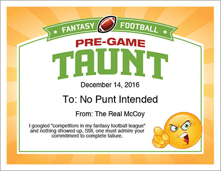 Pre-Game Taunt Award