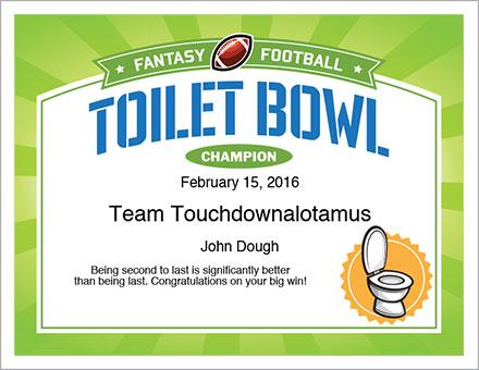 Toilet Bowl Champion Award Certificate
