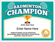badminton champion certificate