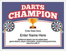 darts champion certificate