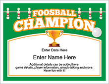 foosball champion certificate