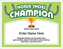 horse shoes champion certificate