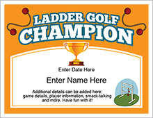 ladder golf champion certificate