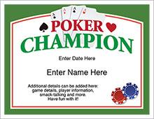 poker champion certificate