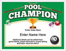 pool champion certificate