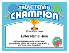 Table Tennis Champion certificate
