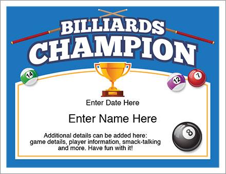 billiards champion award certificate