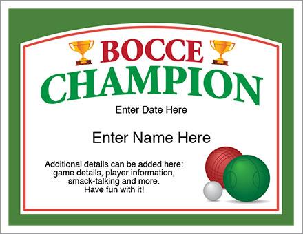Bocce Champion award certificate