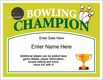 Bowling Champion Certificate - Free Award Certificates