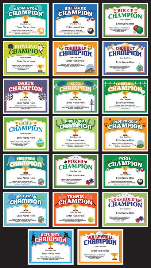 Champion award certificate grid
