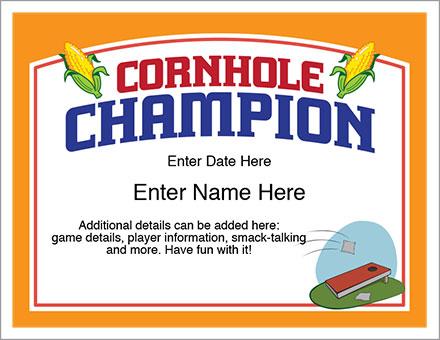 Cornhole Champion Award Certificate
