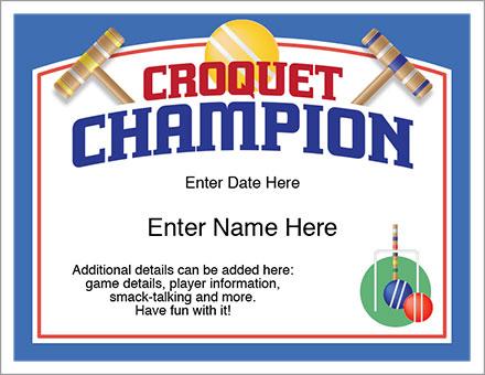 Croquet Champion award certificate
