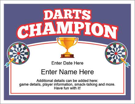 Darts Champion Award Certificate