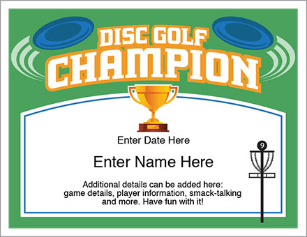 Disc Golf Champion award certificate