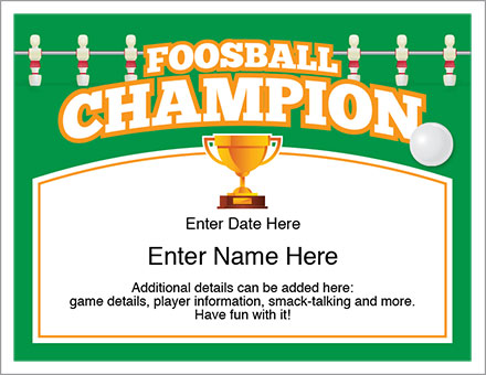Foosball Champion award certificate