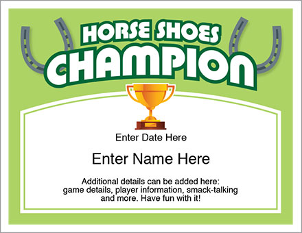 horse shoes award certificates