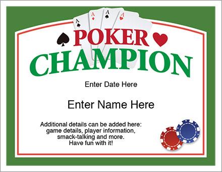 Poker Champion award certificate