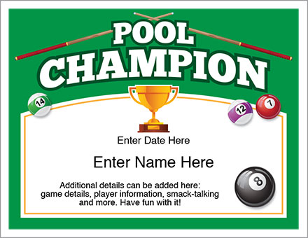 Pool Award Champion Certificate