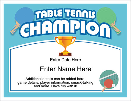 Table Tennis Champion Certificate Free Award Certificates