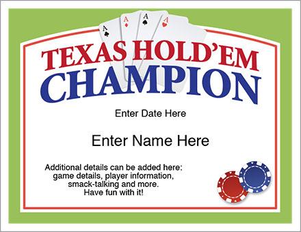 Texas Hold'em award certificate