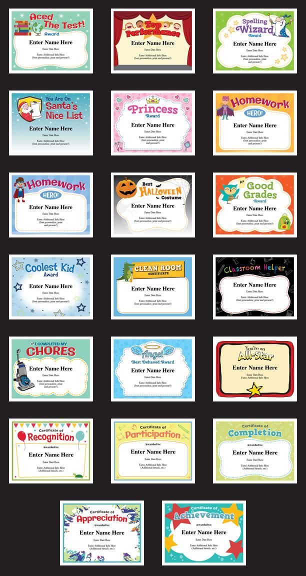 kid certificates grid image
