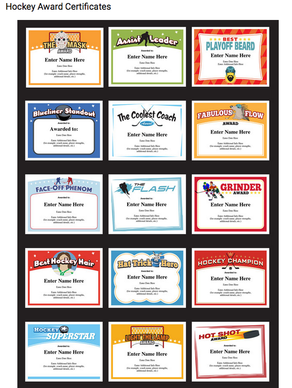 hockey certificates templates complete set image