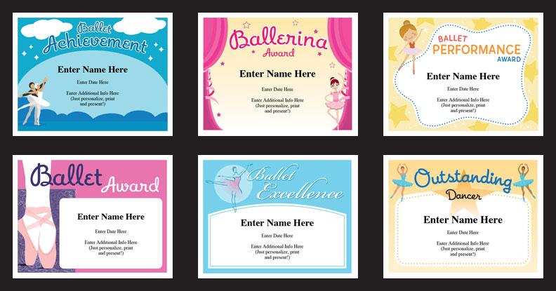 ballet certificates templates image