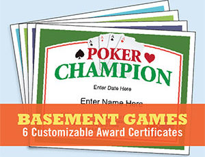 Basement Games Certificates Templates