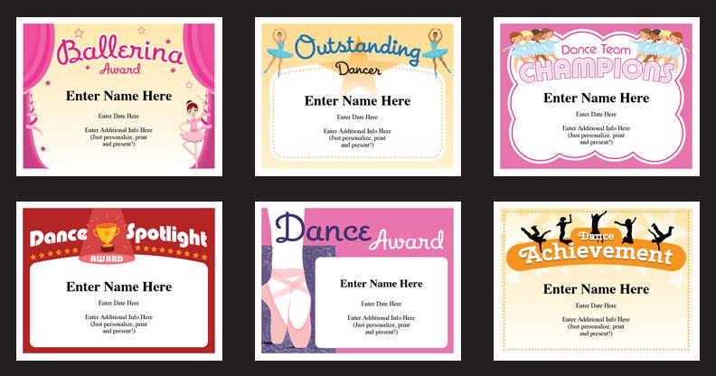 dance award certificates grid