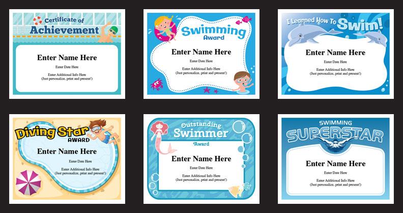 swim certificates templates grid