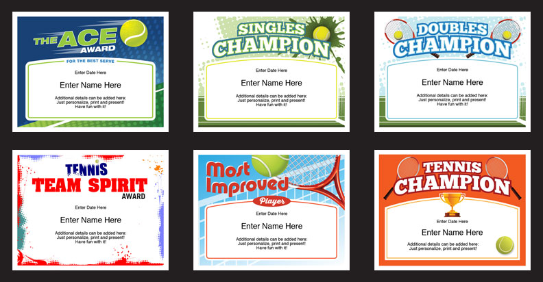 tennis certificates templates grid