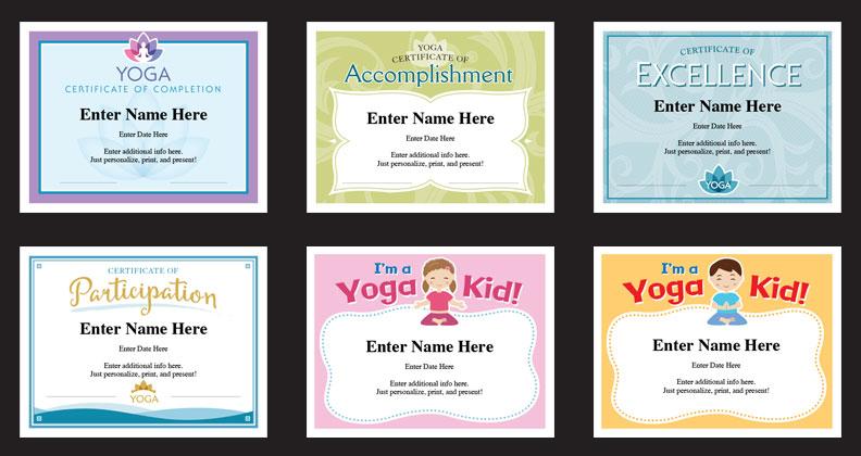 yoga award certificates templates grid