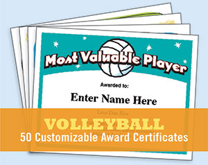 volleyball certificates free award templates