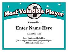 Soccer MVP Certificate image