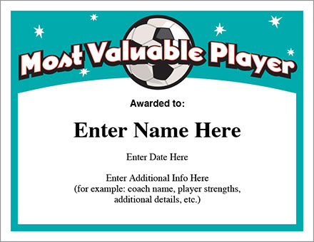 Mvp soccer certificate template free award certificates for Basketball mvp certificate template