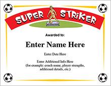 Super Striker Soccer certificate image