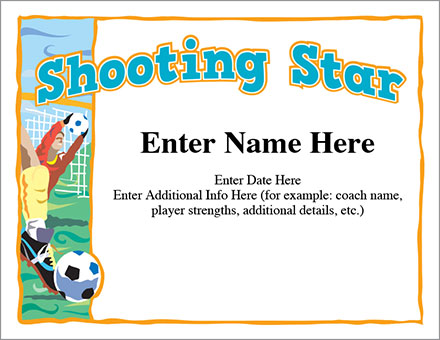 shooting star soccer certificate free award certificates