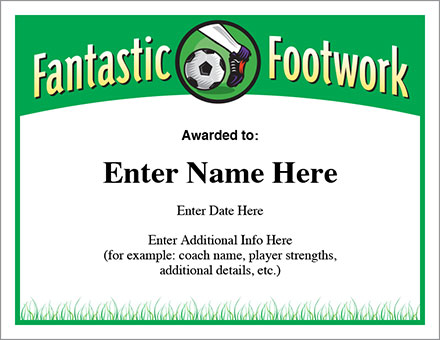 fantastic footwork soccer free award certificates