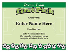 Soccer customizeable certificate