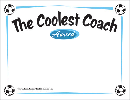 the coolest coach soccer free award certificates