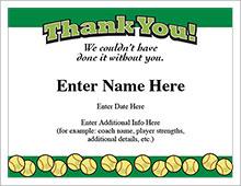 Softball thank-you certificate