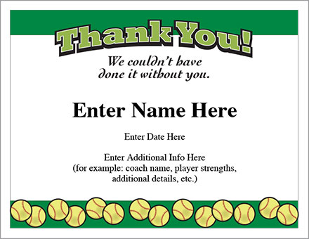 thank you certificate softball template show appreciation