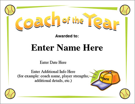 Coach of the year certificate softball award template coach of the year certificate yadclub Choice Image