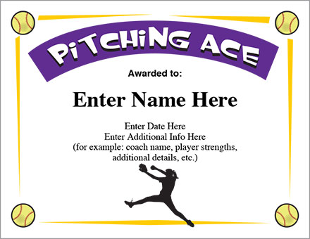 Pitching Ace Certificate