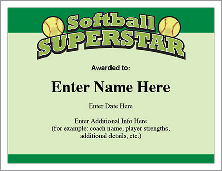 Softball Superstar Certificate - Award Template ...
