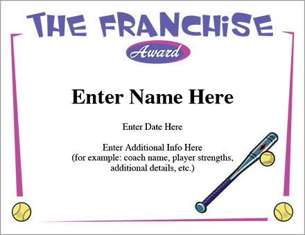 The Franchise Certificate - Softball Template | Fastpitch ...